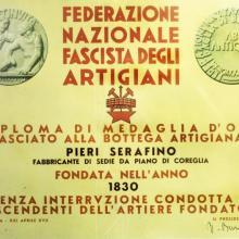 Diploma di medaglia d'oro della Federazione Nazionale Fascista degli Artigiani