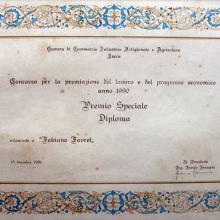 Attestato di Premiazione per Favret Fabiano da parte della Camera di Commercio di Lucca