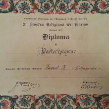 Diploma XII Mostra artigiana del marmo a Favret Fabiano