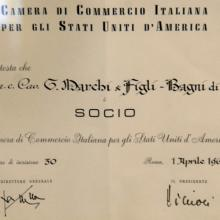 Attestato della Camera di Commercio Italiana in USA - 1963