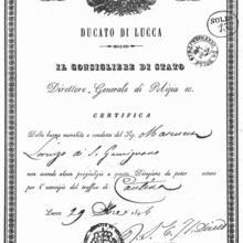 Antica licenza del ristorante - anno 1846