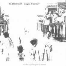 Cartolina bagnanti del Bagno Santini oggi Bertuccelli