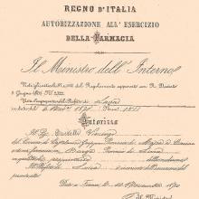 Licenza originale del 1870 rilasciata a Castelli Vincenzo