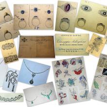 Disegni eseguiti a mano dei gioielli richiesti - anni '30, '50, '60