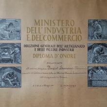 Diploma d'Onore rilasciato dal Ministero a Favret Luciano - 1961