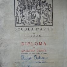 Diploma Scuola D'arte Pietrasanta 1959 a Favret Fabiano