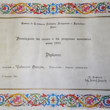 """1995 - diploma di premiazione per la """"Fedeltà al Lavoro"""" all'edicola di Giorgio Coluccini"""