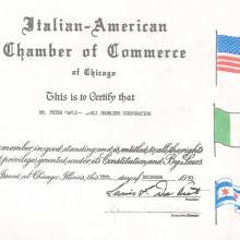 Pietro Carli membro consigliere Camera di Commercio Chicago 1983-1988