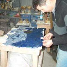 Intarsio di un tavolo in Lapislazzuli