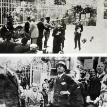 14 maggio 1930: visita di Mussolini a casa di Carducci, cugini dei Coluccini. Sullo sfondo l'attività dei Coluccini